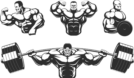 bodybuilder: Ilustración del vector, siluetas de los atletas de culturismo, sobre un fondo blanco, el contorno Vectores