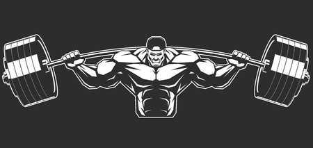 steroids: Illustration a ferocious bodybuilder with a barbell