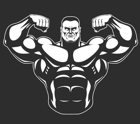 builder: Bodybuilder posing showing big muscles,  illustration vektor Illustration