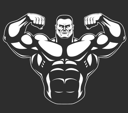 cuerpo hombre: Bodybuilder que muestra los músculos grandes, ilustración vectorial