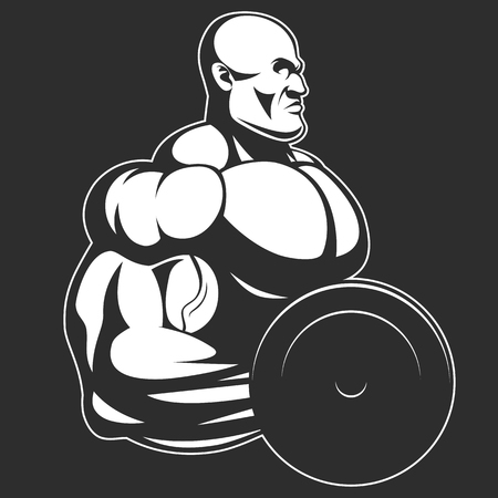 steroids: Vector illustration, bodybuilder doing exercise with dumbbells for biceps Illustration