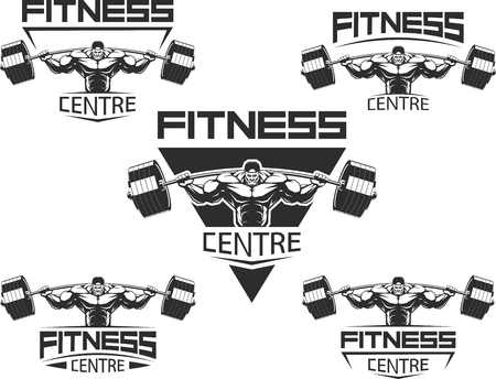 Vector illustratie, Pictogrammen voor bodybuilding en fitness Vector Illustratie