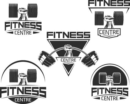 Vectorillustratie, pictogrammen voor bodybuilding en fitness Stock Illustratie