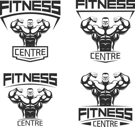 Ilustración del vector, iconos de musculación y fitness