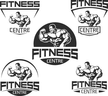 bodybuilding: Vector illustration, Icons for bodybuilding and fitness
