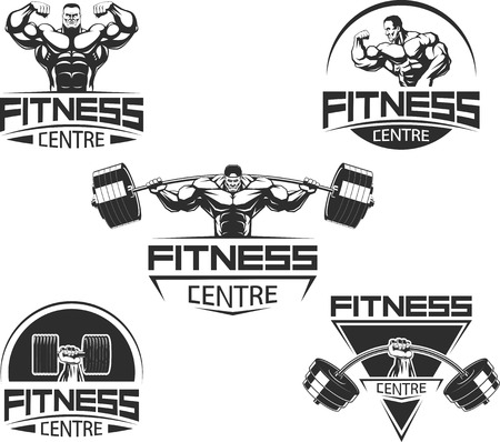 levantando pesas: Ilustraci�n del vector, iconos de musculaci�n y fitness