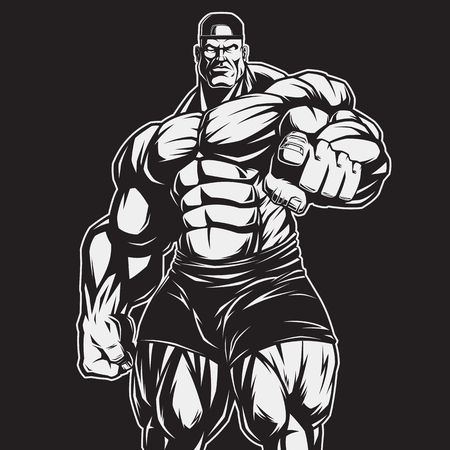 Vector illustration, strict coach bodybuilding and fitness