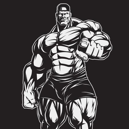 culturista: ilustración vectorial, el estricto entrenador de culturismo y fitness Vectores