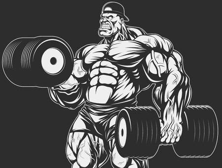 Ilustración del vector, culturista haciendo ejercicio con pesas para bíceps