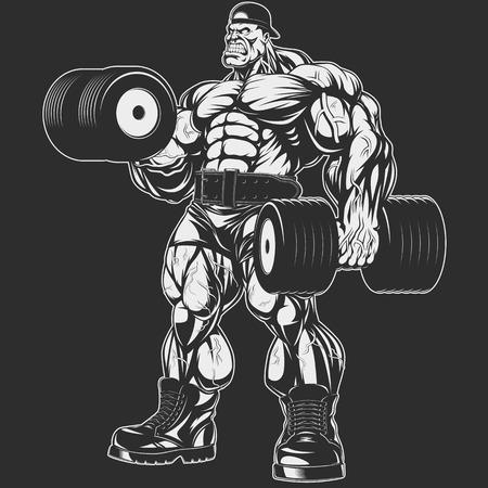 Ilustración del vector, culturista haciendo ejercicio con pesas para bíceps Ilustración de vector