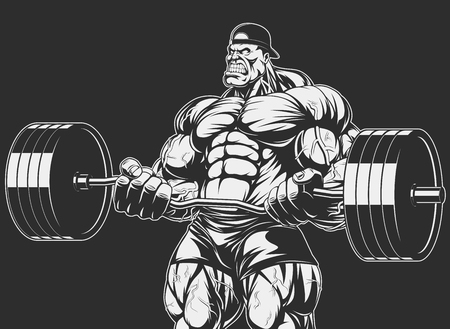 bodybuilding: Vector illustration, bodybuilder doing exercise with barbell for biceps Illustration