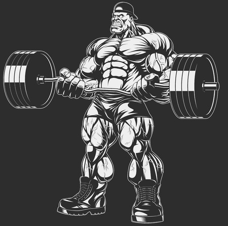 Vector illustration, bodybuilder doing exercise with barbell for biceps Illustration