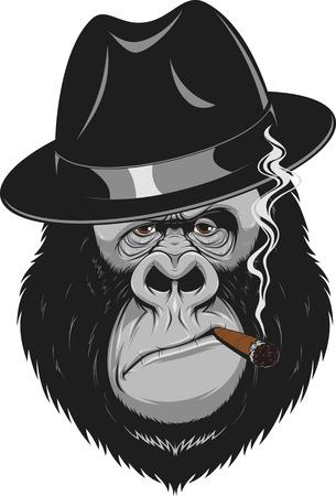 Vector illustratie, formidabel gorilla gangster roken van een sigaar