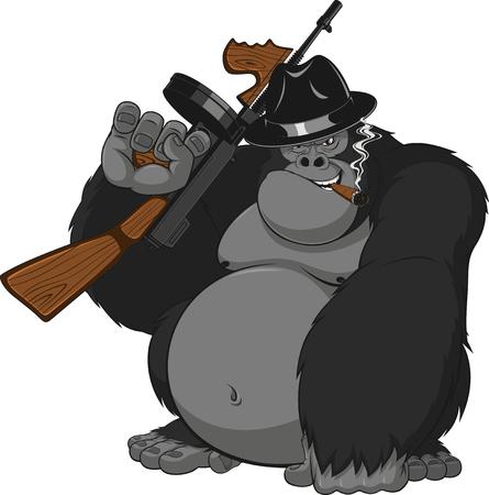 Vektor-Illustration, gewaltige Gorilla Gangster mit Waffe Rauchen einer Zigarre