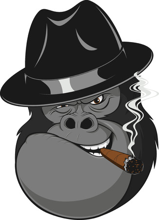 Vector illustration, formidable gorilla gangster smoking a cigar