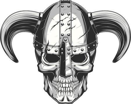 A vector illustration of a skull wearing a viking helmet.