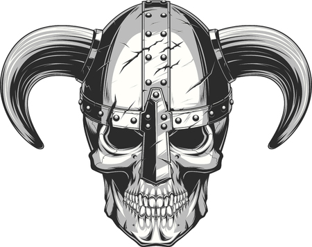 A vector illustration of a skull wearing a viking helmet.