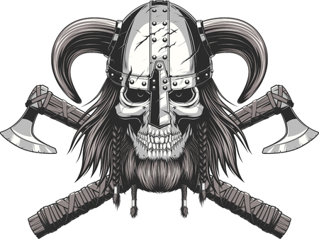 fear cartoon: A vector illustration of a skull wearing a viking helmet.