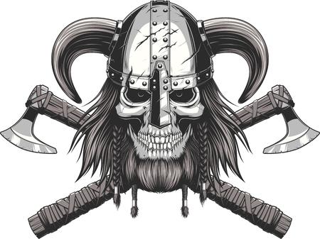 calavera: Una ilustración vectorial de un cráneo que lleva un casco de vikingo. Vectores