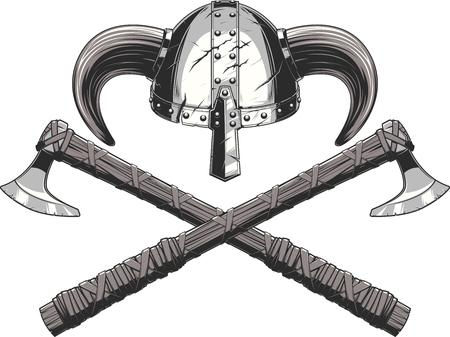 ilustración vectorial casco y armas hacha de Viking Ilustración de vector