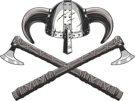 Vector illustration helmet and ax weapons Viking