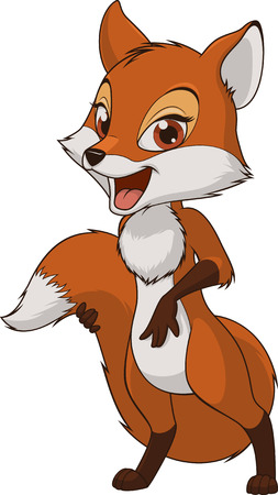 Vector illustration, funny baby fox, on a white background Stock Illustratie