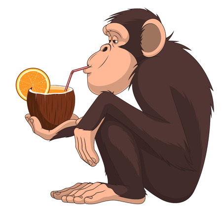 Vektor-Illustration von lustigen Schimpansen sitzen und Fruchtcocktail trinken