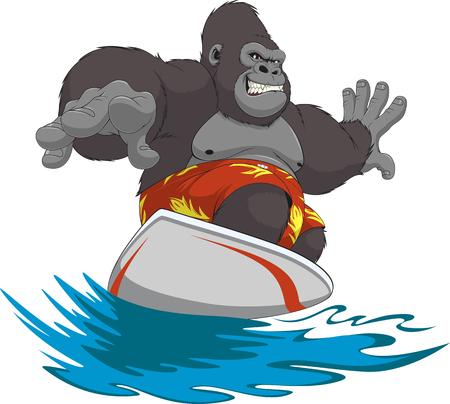 rey caricatura: Ilustración del vector del gorila divertido montar las olas sobre una tabla de surf