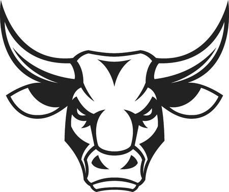 Vector illustration, a ferocious bull's head on a white background