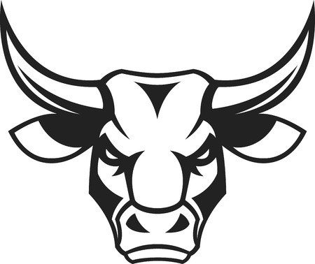 mad: Vector illustration, a ferocious bulls head on a white background