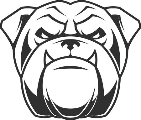 Vektor-Illustration Kopf wilden Bulldog Maskottchen, auf einem weißen Hintergrund Vektorgrafik