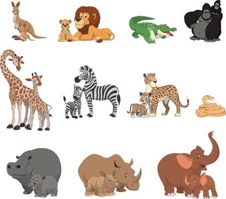 animales silvestres: Ilustración vectorial conjunto de animales exóticos divertidos