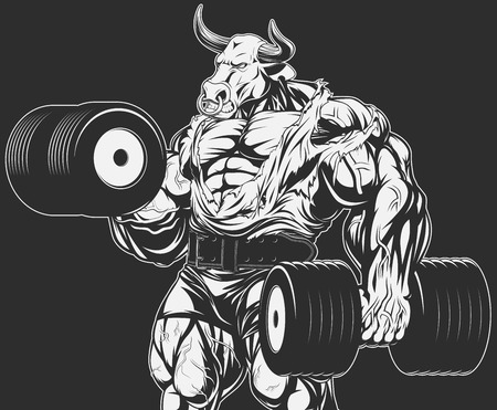 Vector illustration, strong bull doing exercise with dumbbells for biceps