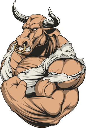 Vector illustration of a strong bull with big biceps Vectores