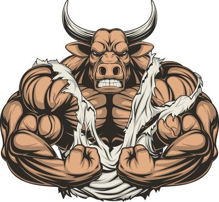 toros bravos: Ilustración vectorial de un fuerte toro con grandes bíceps Vectores