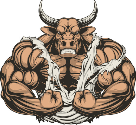 Vector illustration of a strong bull with big biceps Çizim