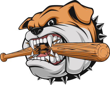 Vector illustration, a fierce bulldog breaks a baseball bat