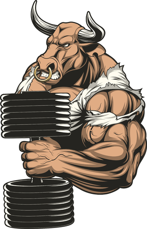 Vector illustration, a fierce strong bull does exercise with dumbbells on biceps