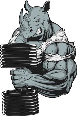 Vector illustratie, een woeste neushoorn atleet doet oefening voor biceps met halters
