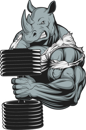 Vector illustration, a ferocious rhino athlete doing exercise for biceps with dumbbells Reklamní fotografie - 55751193