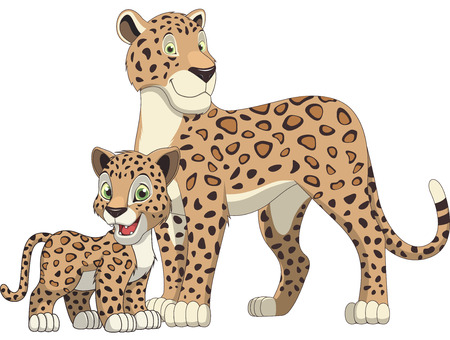 panthera pardus: Vector illustration, adult leopard and cub leopard, white background Illustration
