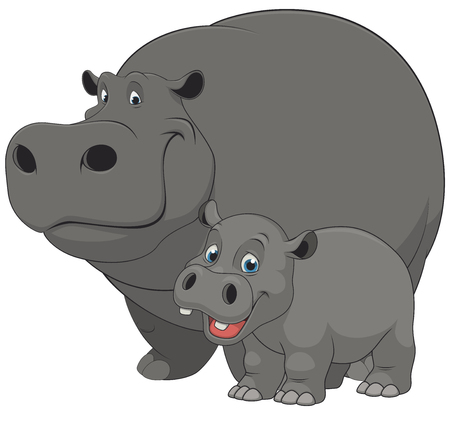 Vector illustration of an adult hippo and baby hippo, on a white background Иллюстрация