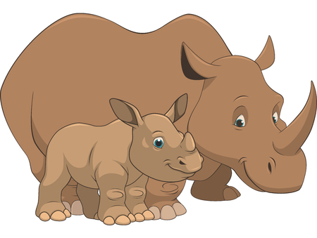 african grey: Vector illustration adult and baby rhino on a white background Illustration