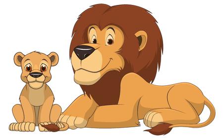 Ilustración del vector del león adulto y León bebé sobre un fondo blanco