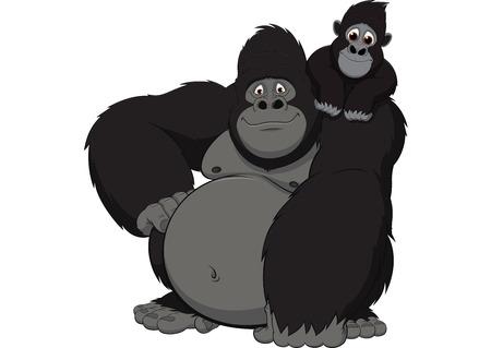 Illustrazione vettoriale adulto gorilla e bambino gorilla su uno sfondo bianco Vettoriali
