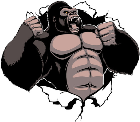 illustration, ferocious gorilla breaks the wall with his fists Illustration