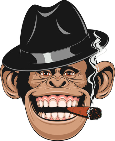 illustration of funny chimpanzee hat gangster smoking a cigar and laughing Banco de Imagens - 56479985