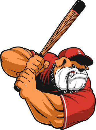illustration ferocious Bulldog baseball player hits a ball