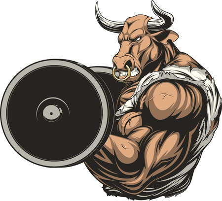 ferocious: illustration of a ferocious bull raises the barbell on biceps
