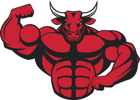 strong bull: illustration of a strong bull with big biceps.